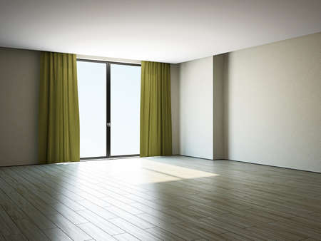 The empty room with big panoramic window Stock Photo - 17967233