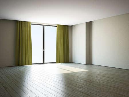 The empty room with big panoramic window Stock Photo - 17967233