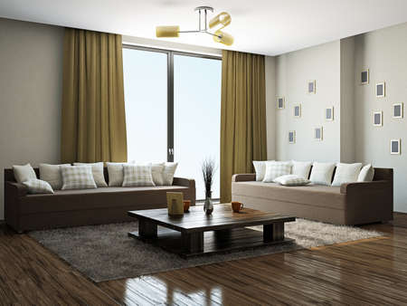Livingroom with furniture near the panoramic windows photo