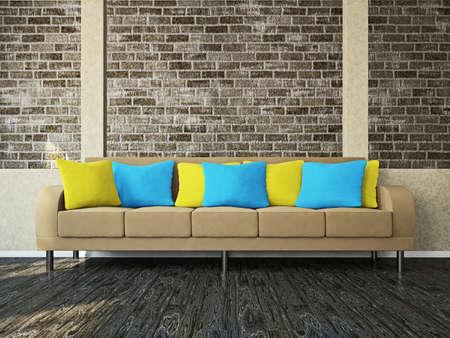 Room with sofa near the brick wall Stock Photo - 18009073