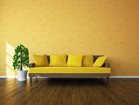 divan sofa: Room with sofa and a plant near the window Stock Photo