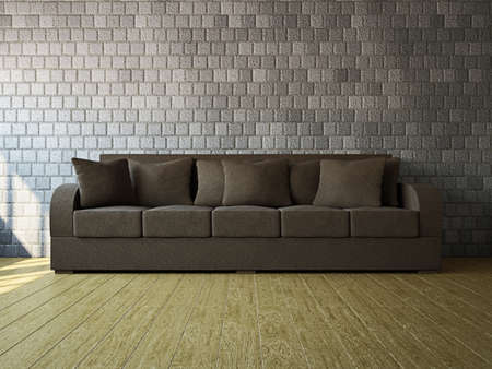 Room with brown sofa near the wall Stock Photo - 18009075