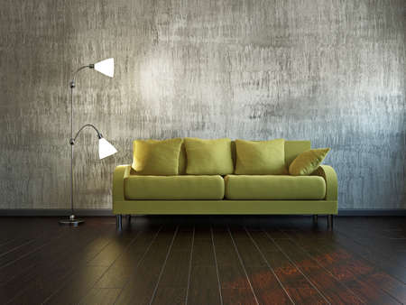 Livingroom with sofa  near the wall photo