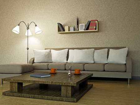 Sofa in the livingroom near the wall Stock Photo - 18058047