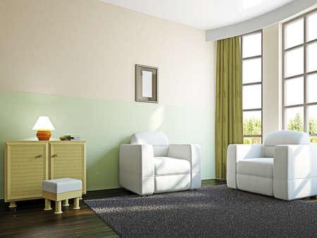 Livingroom with furniture  near the big window Stock Photo - 18058071