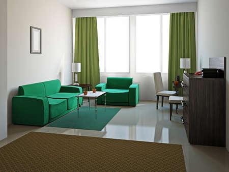 Livingroom with furniture  near the big window Stock Photo - 18058069