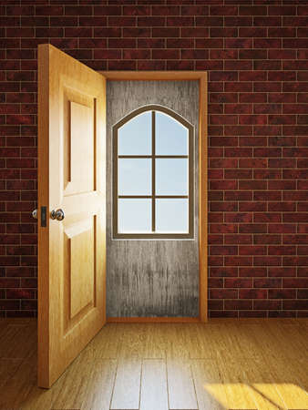 closing: A small window in the large doorway