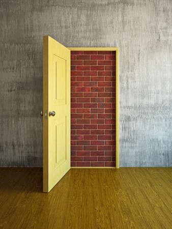 La porte est fermée par un mur de briques