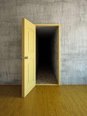 dark room: Long and dark corridor behind a door