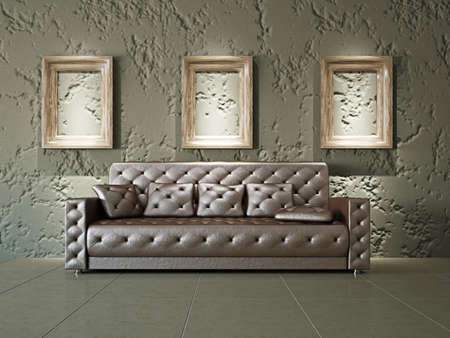 wall paintings: Old gallery with sofa near the wall Stock Photo