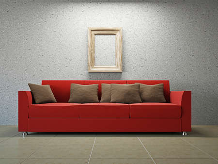 Livingroom with sofa  near the grey wall Stock Photo - 18198301