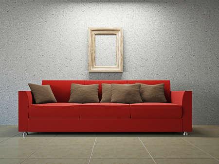Livingroom with sofa  near the grey wall Stock Photo - 18198301