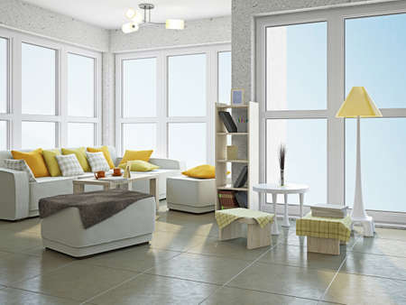 Livingroom with furniture  near the panoramic window Stock Photo