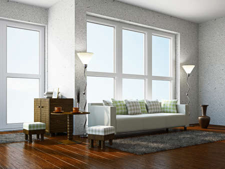 Livingroom with furniture  near the panoramic window photo