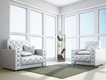 Room with two  armchairs near the window Stock Photo - 18248426