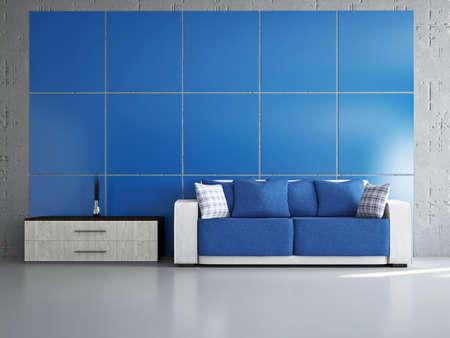 Livingroom with sofa near the wall Stock Photo - 18304670