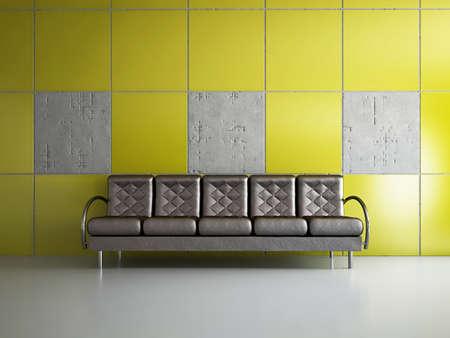Livingroom with sofa near the wall Stock Photo - 18304669