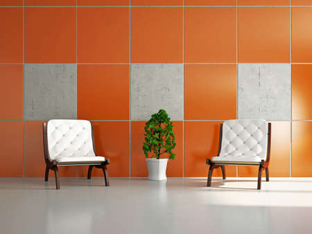 Livingroom with chairs near the wall Stock Photo - 18339513