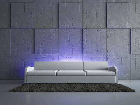 zen interior: Livingroom with sofa near the wall