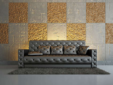 Livingroom with sofa near the wall Stock Photo - 18339528