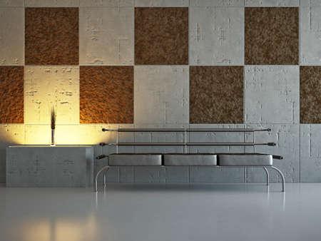 Livingroom with sofa near the wall Stock Photo - 18339529