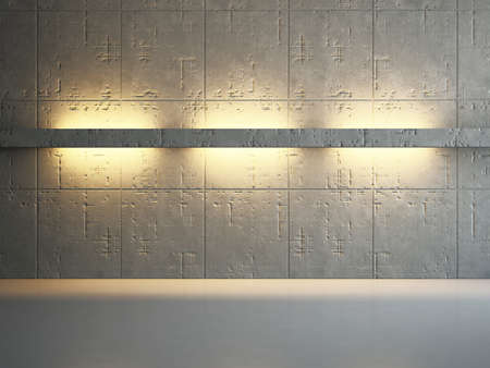 lighting: The old concrete wall with bright lighting