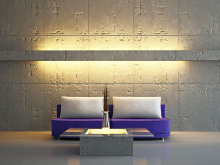 Livingroom with sofa near the wall Stock Photo - 18339533