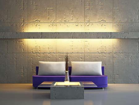 home  lighting: Livingroom with sofa near the wall