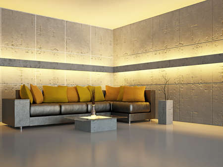 concrete blocks: Sala de estar con sof� cerca de la pared
