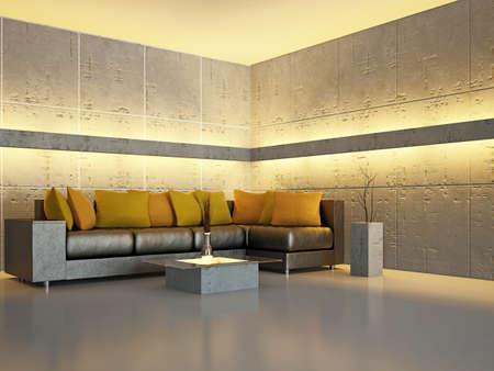 haus beleuchtung: Wohnzimmer mit Sofa an der Wand