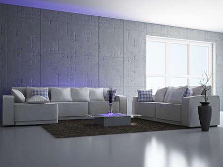 Livingroom with sofa near the wall Stock Photo - 18390021
