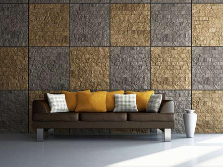 lounge room: Livingroom with sofa near the wall