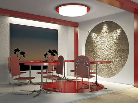 Interior of the cafe with chairs and tables Stock Photo - 18498150