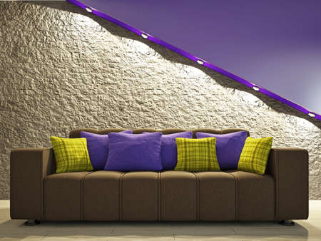 Brown sofa with pillows near the brick wall Stock Photo - 18498156