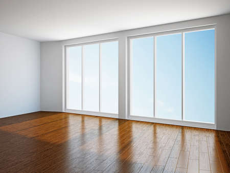 The empty room with big panoramic window Stock Photo - 18498151