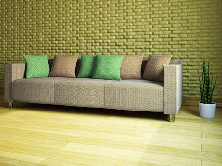 Livingroom with sofa near the wall Stock Photo - 18498154