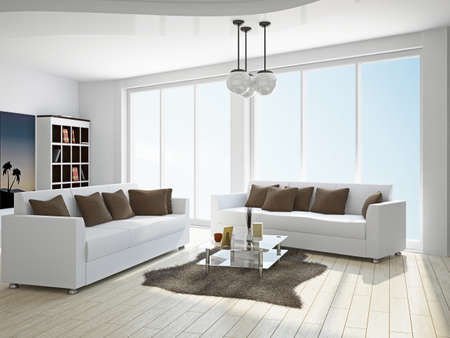 Livingroom with sofas near the window Stock Photo - 18498157