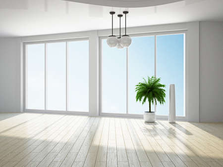 The empty room with big panoramic window Stock Photo - 18498155