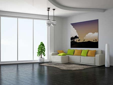 Livingroom with sofa near the wall Stock Photo - 18545663