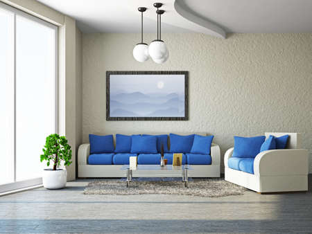 Livingroom with sofa near the wall photo