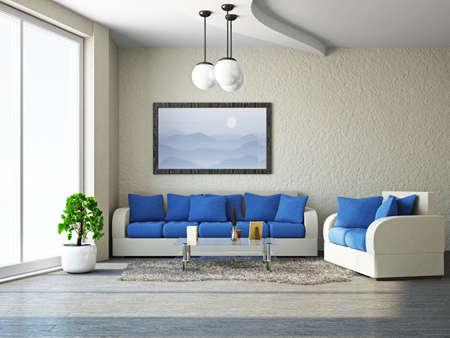 luxury living room: Livingroom with sofa near the wall