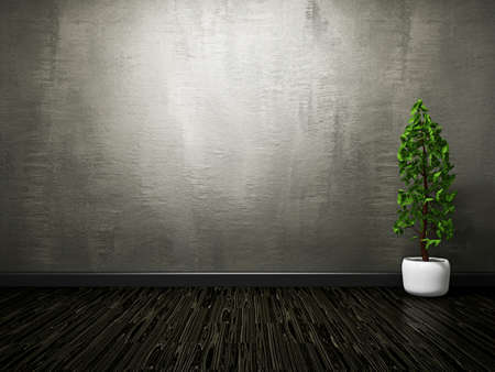 The old grey cement wall and  wooden floor Stock Photo - 18583370