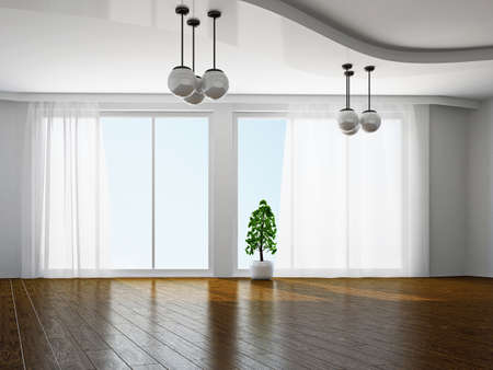 The empty room with big panoramic window Stock Photo - 18648094