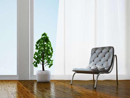 Livingroom with chair near the window Stock Photo - 18648093