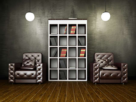 Leather armchairs near the old grey cement wall  Stock Photo - 18648065
