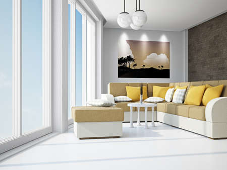 Livingroom with sofas near the window Stock Photo - 18648124