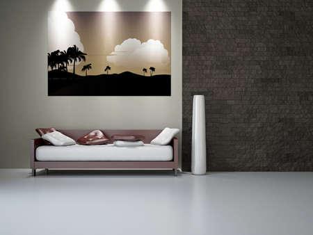 Livingroom with sofa near the wall Stock Photo - 18648116