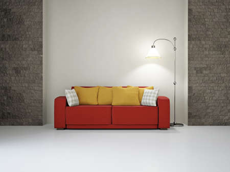 Livingroom with sofa near the wall Stock Photo - 18648131