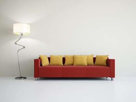 red sofa: Livingroom with sofa near the wall