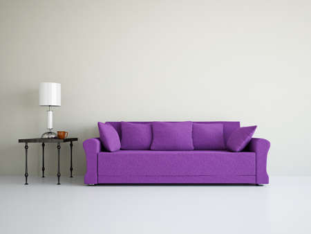Livingroom with sofa near the wall Stock Photo - 18648129